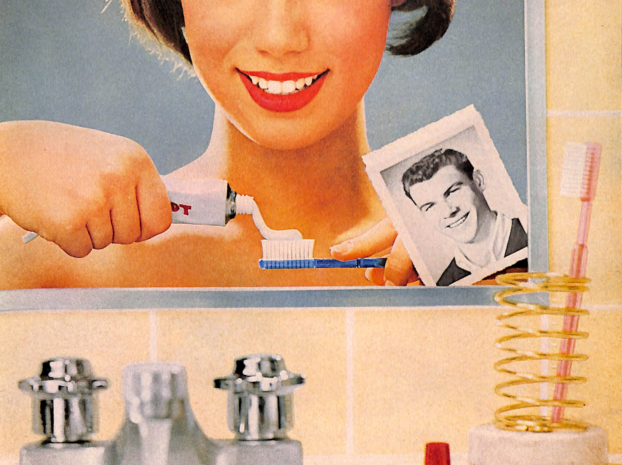 Smiling face in mirror 1960s