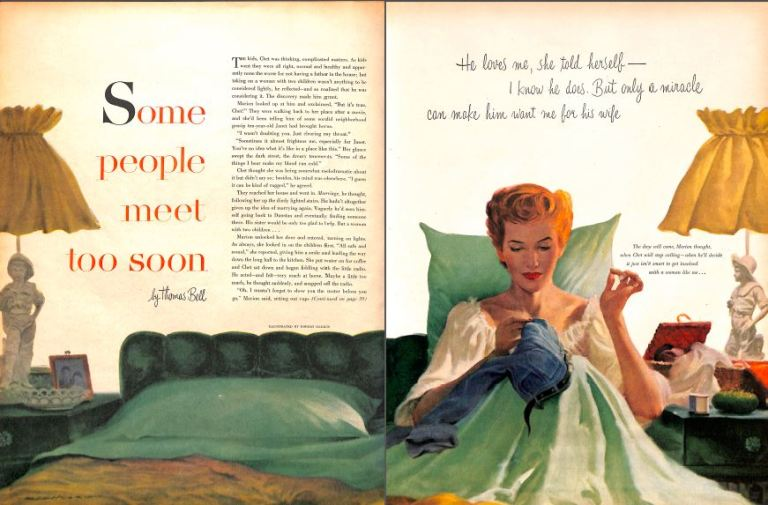 2 page spread showing illustration by Robert Harris from McCalls magazine - 1952